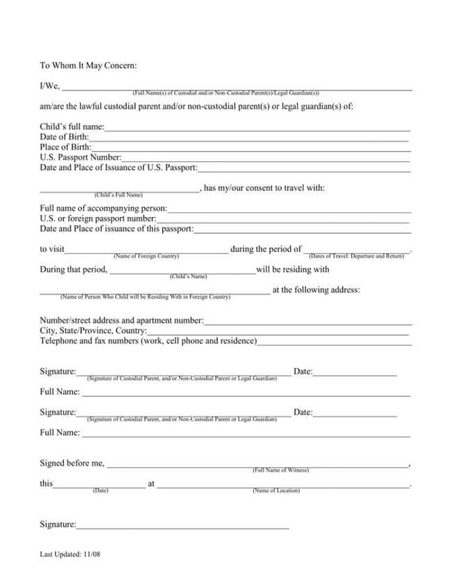 permission letters template