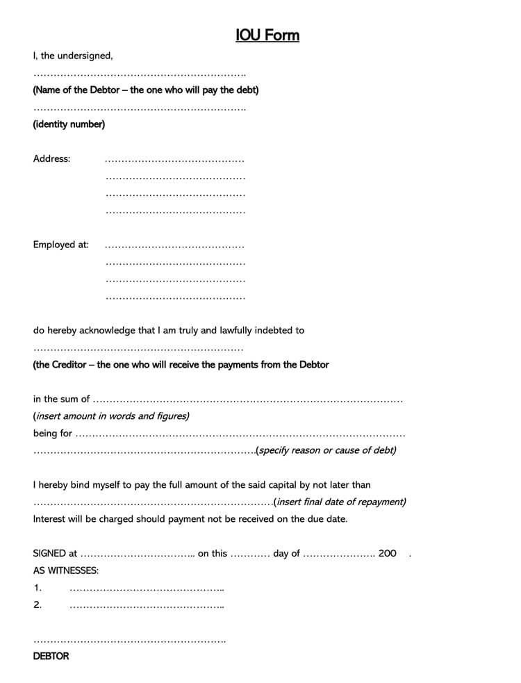 Blank IOU Form Template Word