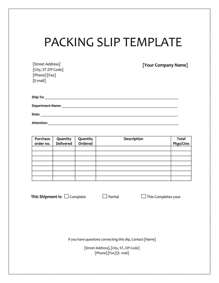 Blank Packing Slip Template