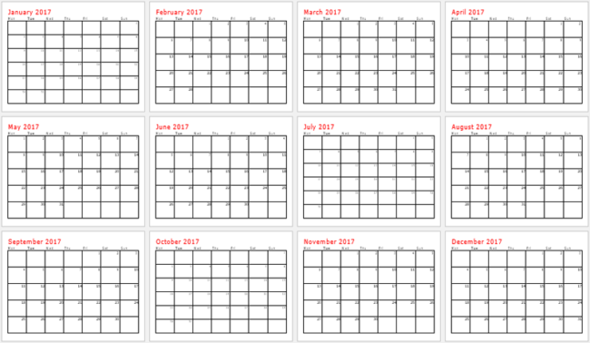 blank printable 2017 calendar template for word