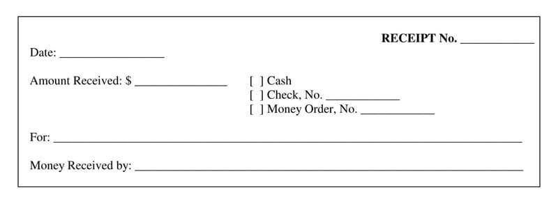Blank Receipt for Cash