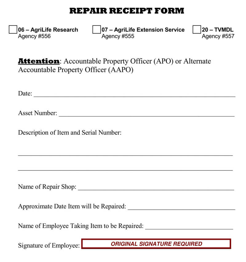 Blank Repair Receipt