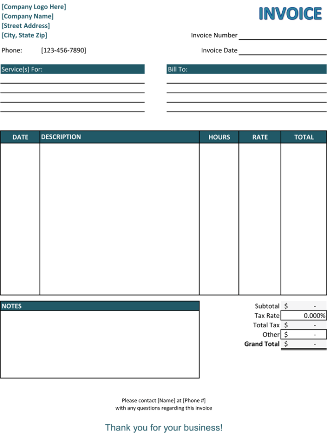 Service Invoice Templates For Word And Excel - Blank invoice template free download for service business
