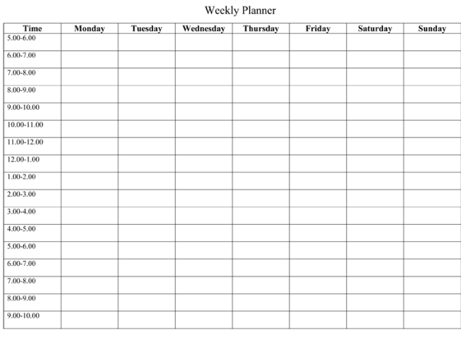 Blank Weekly Schedule Template