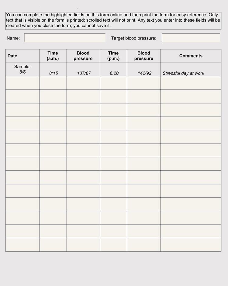 free blood pressure log templates  and tracker sheets