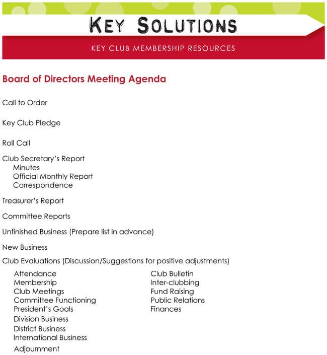 Board Meeting Agenda Sample