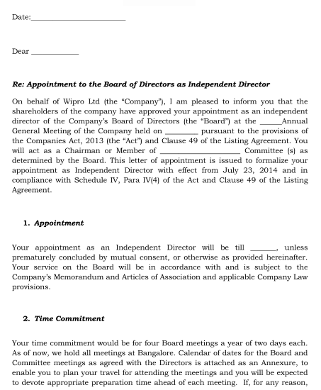 Board Membership Offer Letter 1