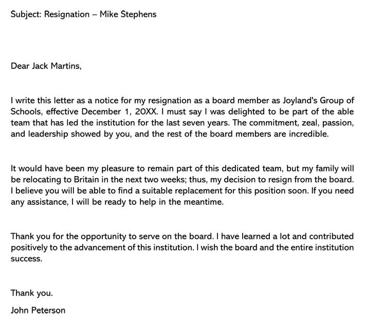 board position resignation letter samples  u0026 examples