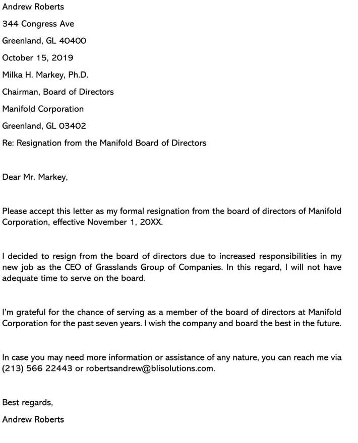 Sample Resignation Letter From Board Member from www.wordtemplatesonline.net