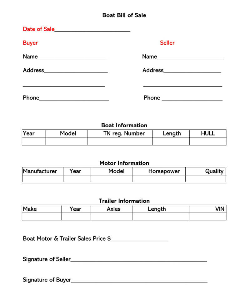 Boat Bill of Sale Form 03