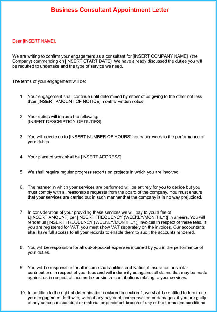download business appointment letter
