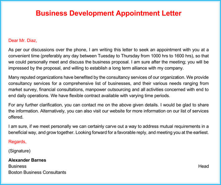 printable business appointment letter