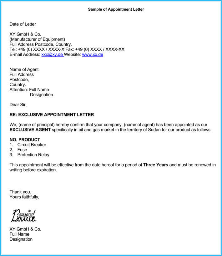 free edit business appointment letter