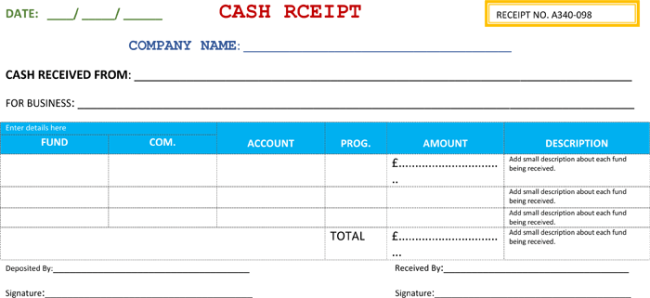 Attractive Business Cash Receipt Template In Cash Recepit