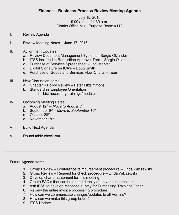 Business Finance Process Review Meeting Agenda Example