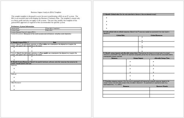 Business Impact Analysis (BIA) Template