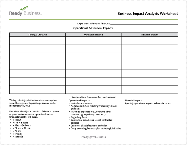 Business Impact Analysis Template for PDF