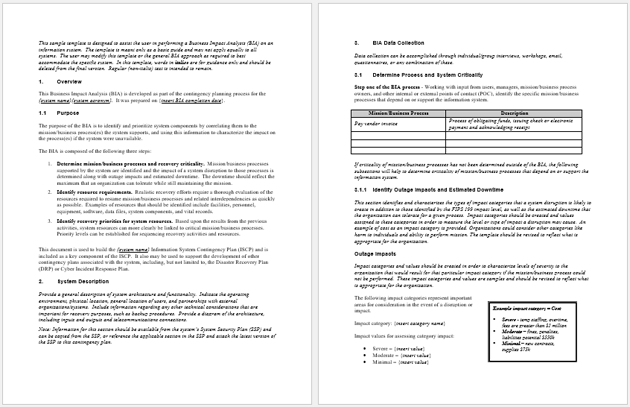 Business Impact Analysis Template (Doc),
