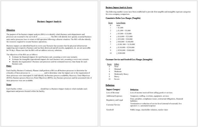 Business Impact Analysis Template For Word