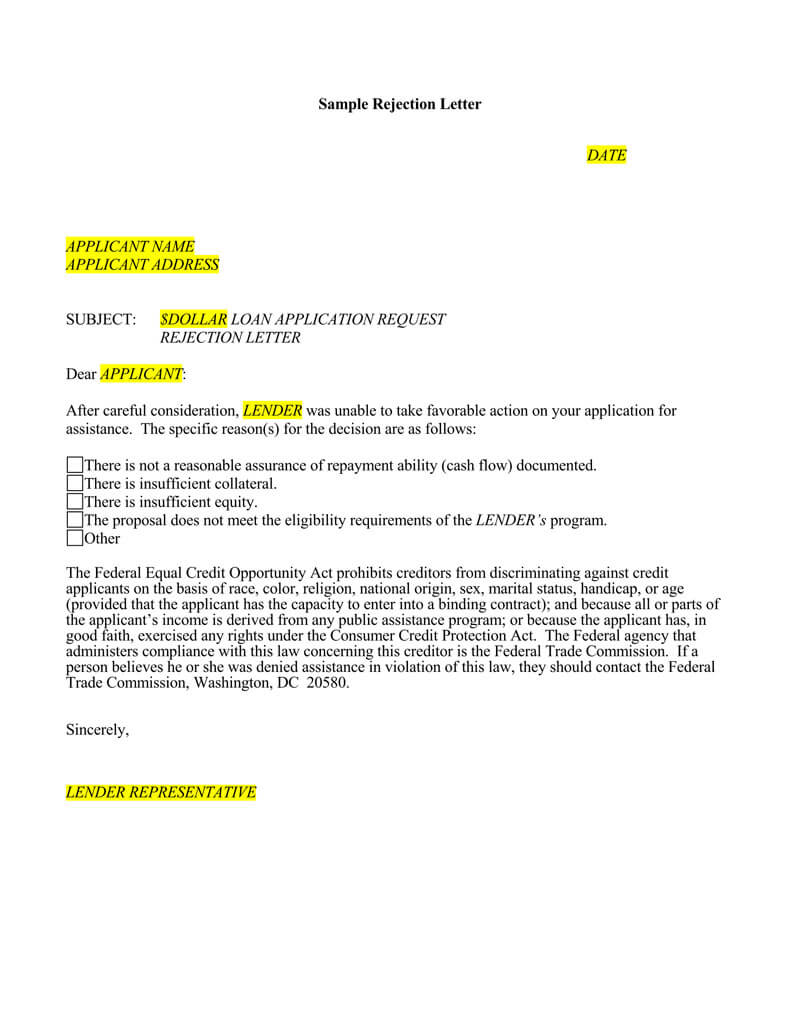 Loan Application Rejection Letter (15+ Sample Letters