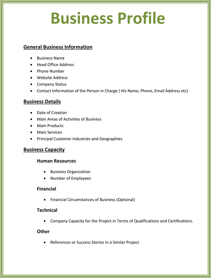 business profile templates