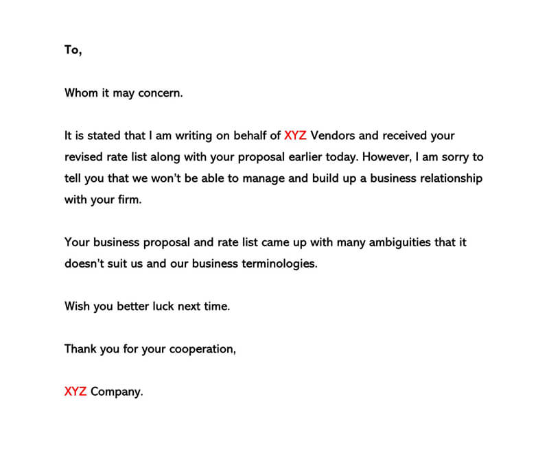 Business Proposal Rejection Letter 03