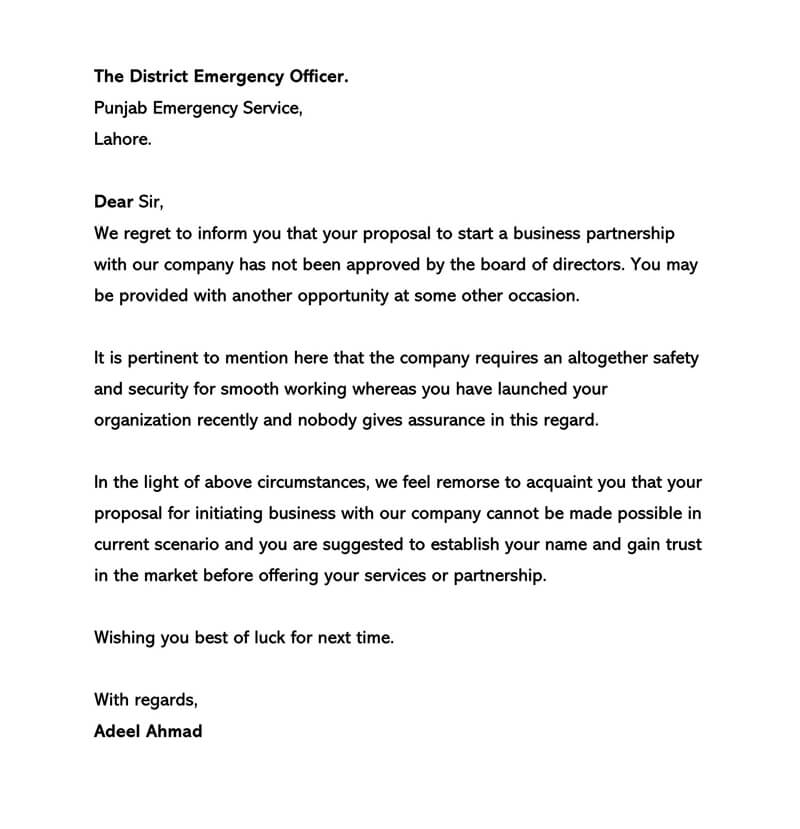 Business Proposal Rejection Letter 04