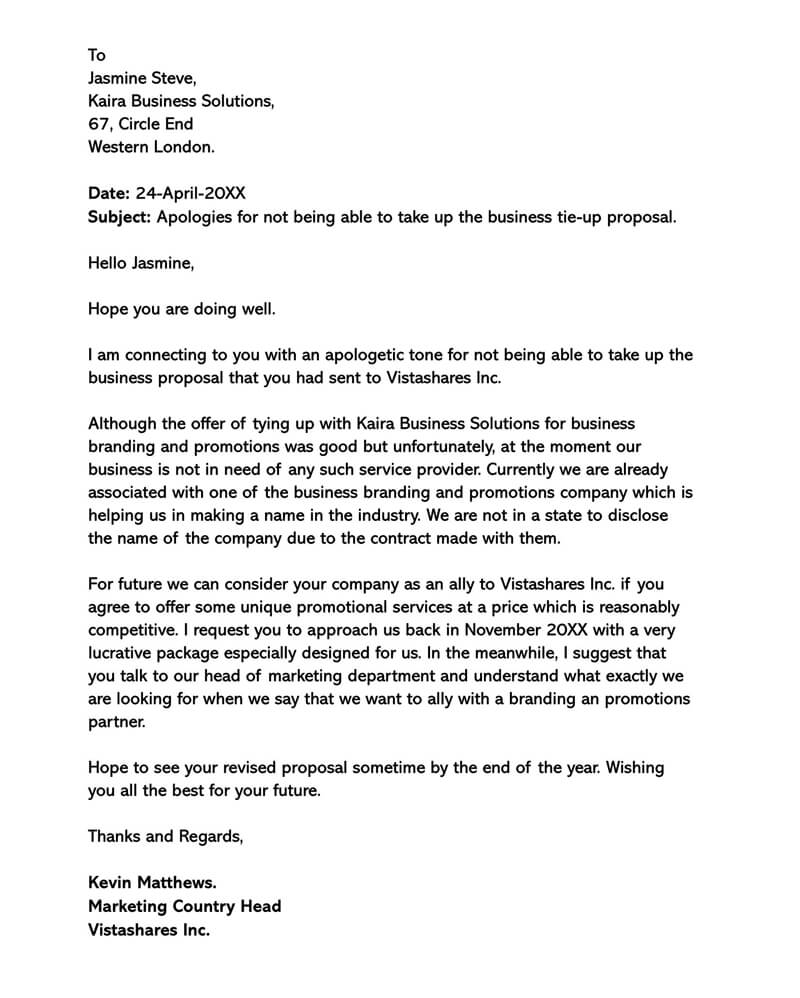 Business Proposal Rejection Letter 05