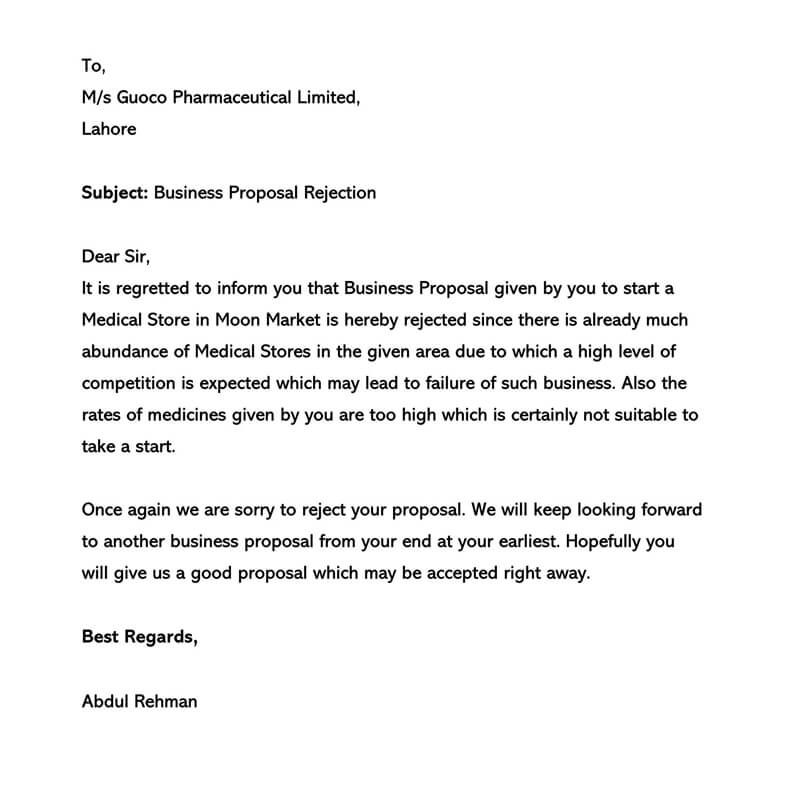 Business Proposal Rejection Letter 06