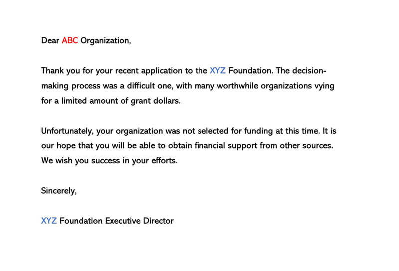 Business Proposal Rejection Letter 12