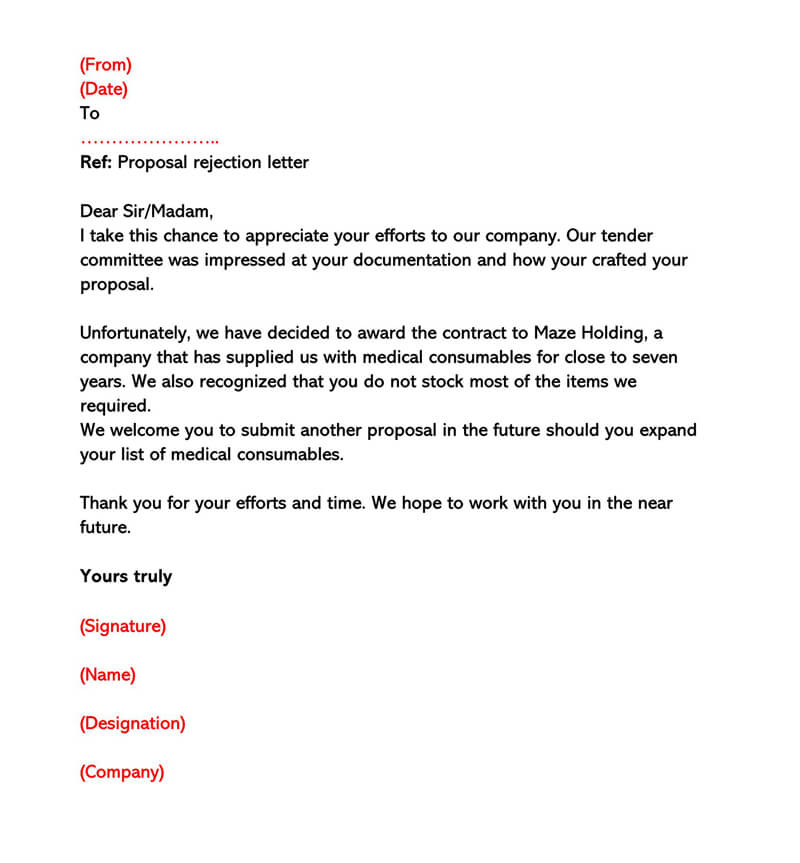 Business Proposal Rejection Letter 13