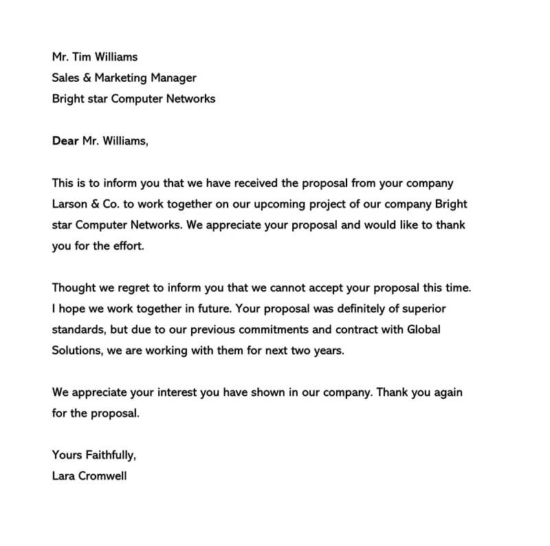 Business Regret Letter Format