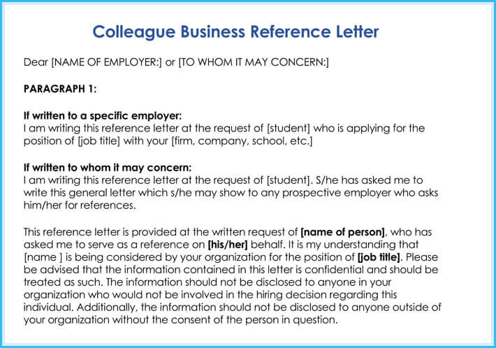 free business Reference Letter