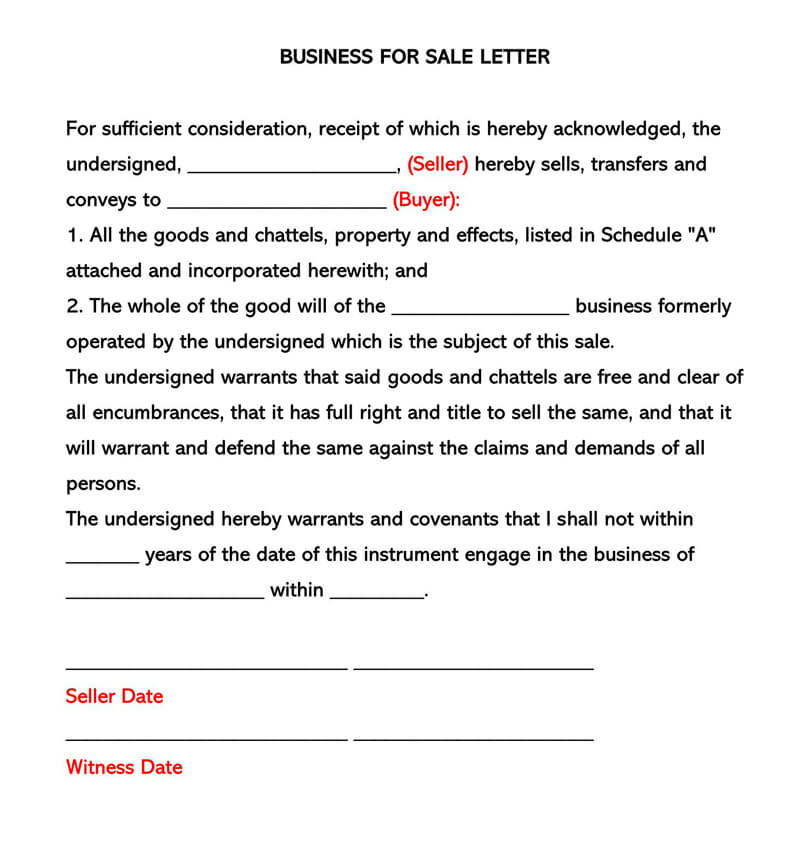 Business for Sale Letter Template