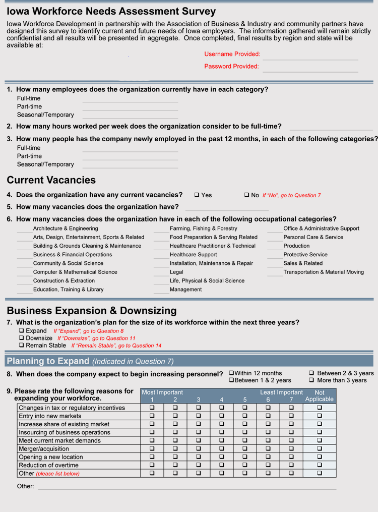 Printable Need Assessment Survey Example