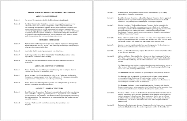 Enchanting Bylaws Templates Pattern Resume Ideas Bayaarinfo - Non profit bylaws template