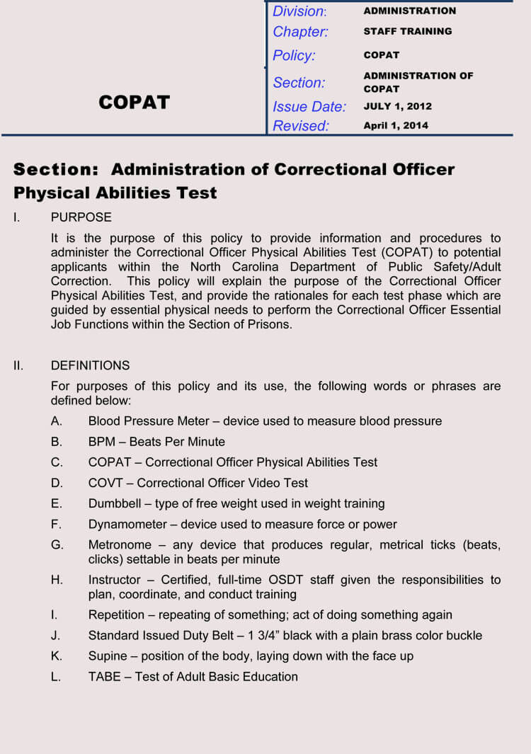 COPAT Medical Clearance Form