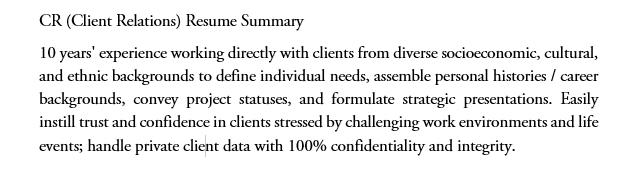 CR resume Summary