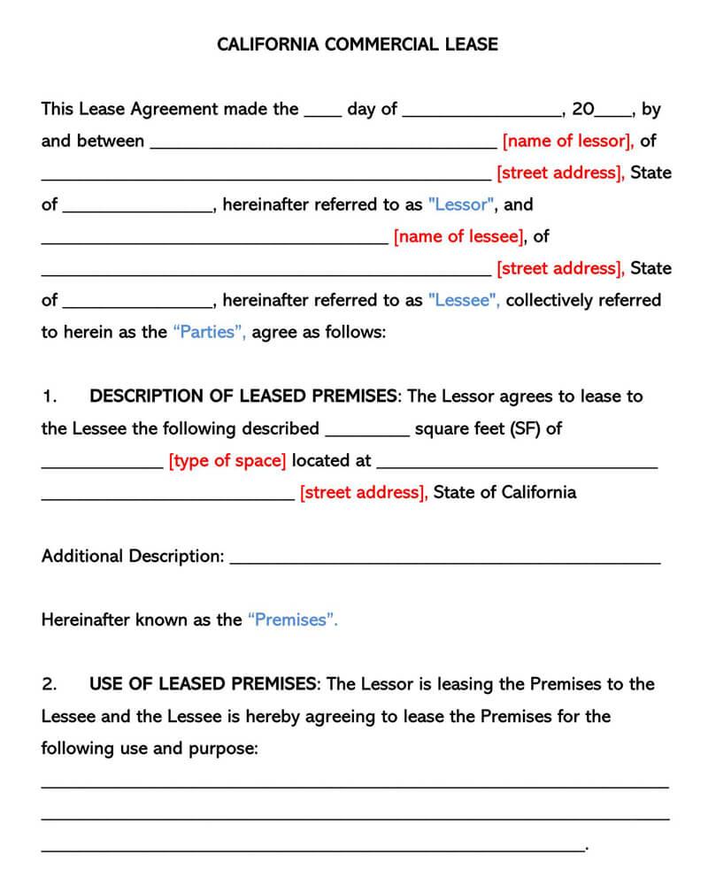California Commercia Rental Lease Agreement