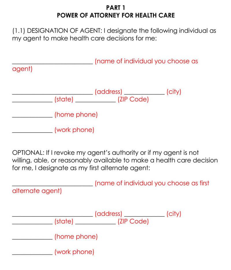 California Medical POA Form