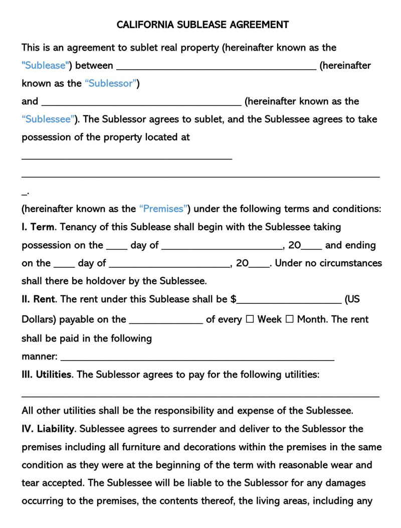California SubLease Agreement Template