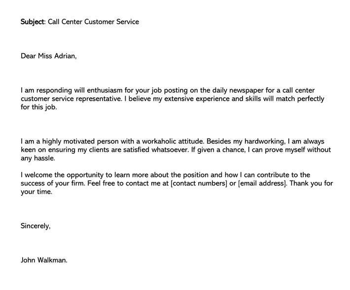 Call Center Customer Service Cover Letter (Word Format)