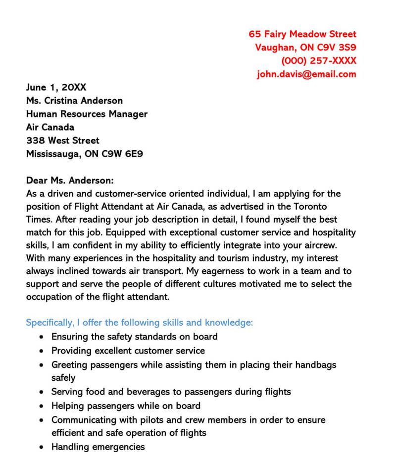 Canada Flight Attendant Cover Letter