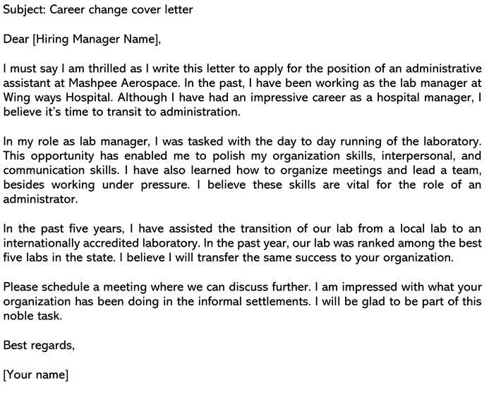 Sample Career Change Cover Letter And Email Example