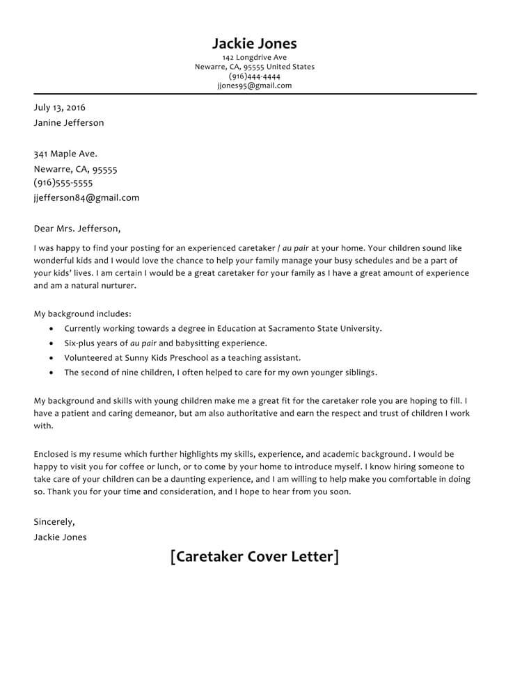 Caretaker Cover Letter Sample