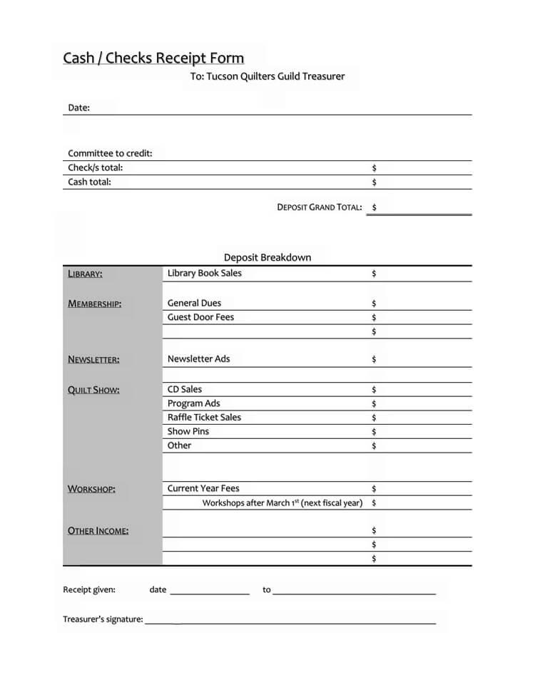 Cash Or Checks Receipt Form