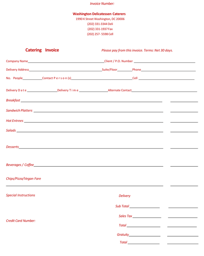 5 best catering invoice templates for decorative business, Invoice examples