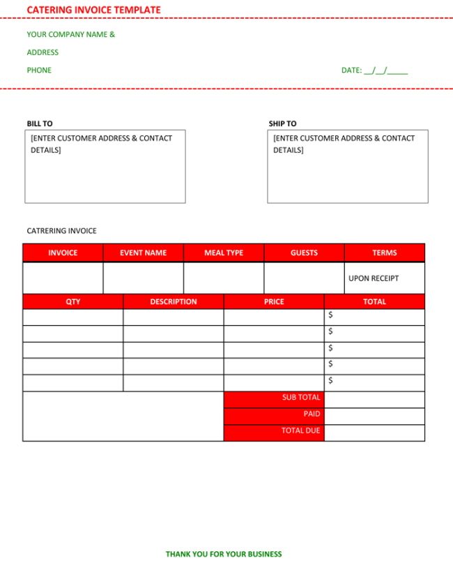 Best Catering Invoice Templates For Decorative Business - Business invoice templates