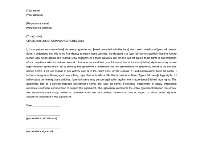 Cease and Desist Letter for Compliance Agreement