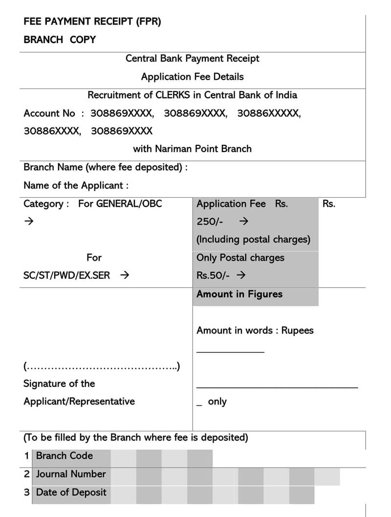 Central Bank Payment Receipt